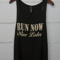 Run Now Wine Later-Black