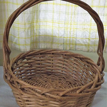 Round Woven Basket, Large Wicker Basket, Big Easter Basket, Brown Natural Basket, Big Storage Container, Vintage Rustic Basket with Handle