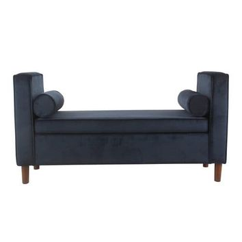 Rimo Dark Navy Velvet Storage Bench