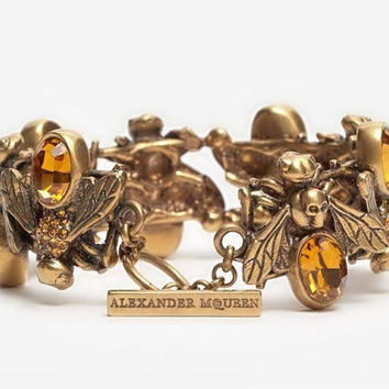 Authentic Alexander McQueen Antiquated Gold Crystal Embedded Bees Toggle Bracelet