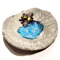 Small Raku Ceramic Bee in the Water Jewelry Dish - Small Ceramics and Pottery Bumble Bee Raku Vessel, Stash Bowl, Trinket Bowl