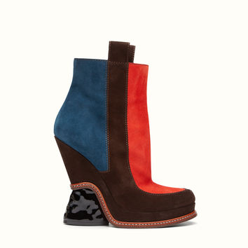 FENDI | FASHION SHOW BOOTS in multicolor suede with sculpted heel