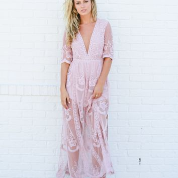 Skye Lace Romper Maxi Dress