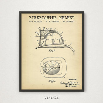 Firefighter Helmet Patent Printable, Firefighter Print, Firefighter Vintage Wall Art, Fireman Poster Fire House Decor Fireman Helmet Diagram