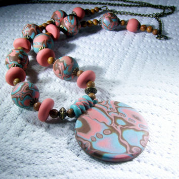 Rose Pink and Turquoise Beaded Pendant Necklace / Polymer Clay Jewelry