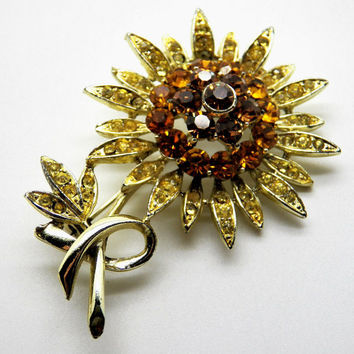 Rootbeer Rhinestone Brooch Flower Exquisite Gold Tone Vintage Costume Jewelry