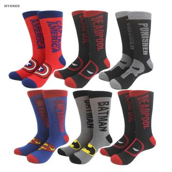 USA superheroes style superman batman deadpool punisher cotton socks for men and women skateboard jacquard long tube crew sokken