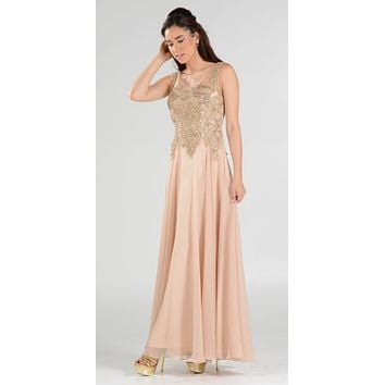 Appliqued Illusion Bodice Champagne Long Formal Dress Sleeveless