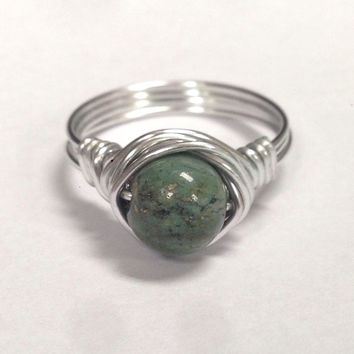 Earth Jasper Wire Wrapped Ring - Silver ring - Teal Ring- Jasper Ring - Stone Ring - Wire Wrapped Ring - Boho Jewelry - Boho Rinng