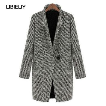 Pop Vintage Women Trench Woolen Coat Autumn Spring Long  Overcoat Parka Jacket Trench Lapel Outwear Tops