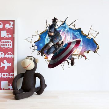Y008* Super Hero Avengers 3D Through  Wall Sticker Baby Nursery Kids Room Stickers Cartoon Decals Home Decor Wallpaper Poster