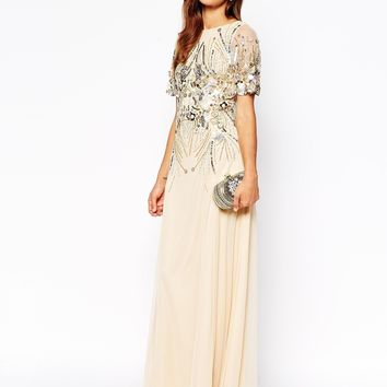 ASOS RED CARPET Sparkle Embellished Mesh Maxi Dress