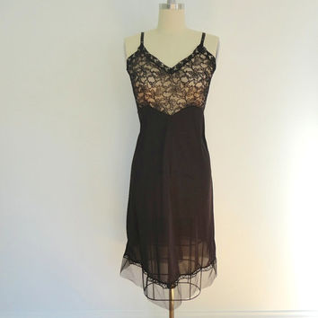 1960s Full Slip / Black Lace Tulle / Vintage Mad Men Style / Visconit Knit to Fit / Slip Dress / 32 Bust