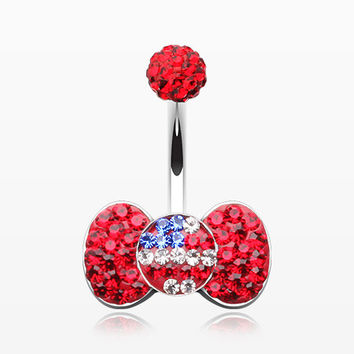 American Flag Bow-Tie Multi-Gem Sparkle Belly Button Ring