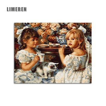 Girls And Cat Animal Unframed Digital Painting Modular Picture Painting By Numbers On Canvas For Living Room Wall Art