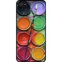 Watercolor Set Iphone 5 Case, Funny Iphone Cover, Paintbox Iphone Black Hard Case - All Carriers