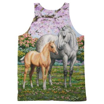 Palomino Foal and Gray Horse All-Over Print Tank Top