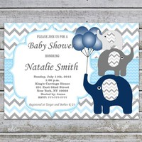 Baby Shower Invitations Boy | Elephant Baby Shower Invitation Boy Printable | Baby Boy Shower Invites | Instant Download Editable PDF 06BB2