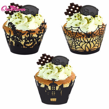 12pcs lot Halloween Spiderweb Witch Castle Laser Cut Cupcake Wrappers Liners Party Decorations New Year Christmas decorations