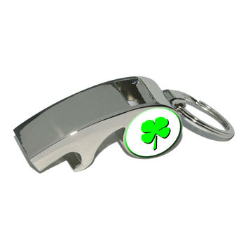 Four Leaf Clover - Luck Of The Irish Whistle Bottle Opener Keychain