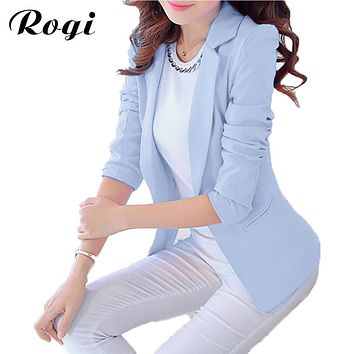 Rogi Blazer Feminino 2017 Spring Autumn Women Long Sleeved Candy Color Work Jackets Suit Casual Vintage Cardigan Outwear Coat