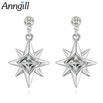 ANNGILL Trendy 100% Crystals from Swarovski Sparkling Octagonal Star Drop Earrings for Women Authentic Crystal Jewelry Bijoux
