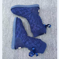 """UGG"" female fashion wool snow boots wool shoes Blue"