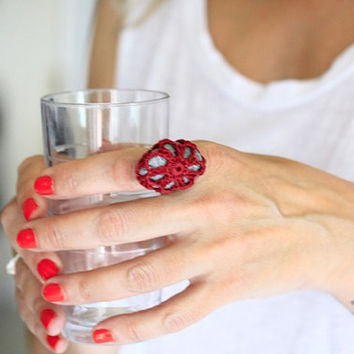 Sea stone statement ring, crochet ring, burgundy lace ring, cocktail ring, one of a kind