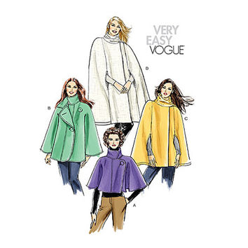 WOMEN'S CAPE PATTERN Capelet Cape with Sleeves Arm Holes Standing Collar Vogue 8162 Bust 36 38 40 42 UnCUT Plus Size Women's Sewing Patterns
