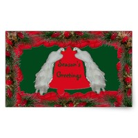 Season's Greetings Birds Bell Rectangular Sticker