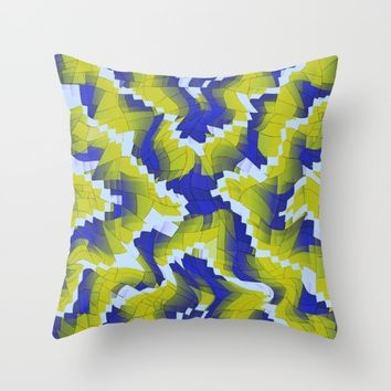 Blue And Green splinter Throw Pillow by Jeanette Rietz
