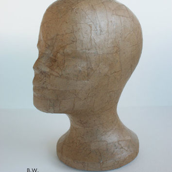 Natural Butchers Paper Mannequin Head Wig Hat  Display Vintage