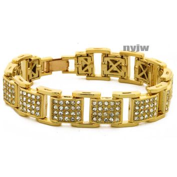 "NEW ICED HEAVY GOLD PLATED MICRO PAVE SIMULATED DIAMOND 8.5"" BRACELET KB033G"
