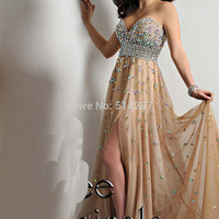 Formal Vestido Sweetheart Crystals Beading Long A Line Tulle Evening Dresses With High Slit Prom Party Dress Champagne Gowns