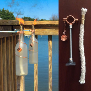 One Bottle Tiki Torch HARDWARE ONLY KIT** - Gifts for Mom - Do It Yourself Kit - Seasonal Decor - Garden Gift - Outdoor Lighting - Crafts