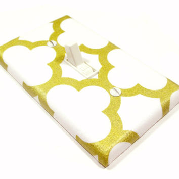 Gold Quatrefoil Light Switch Cover White and Gold Nursery Decor Golden Nursery Decoration Switchplate Switch Plate 1688