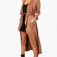 Bella Suedette Belted Duster | Boohoo
