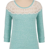 High-Low Crochet Trim Pullover - Agate