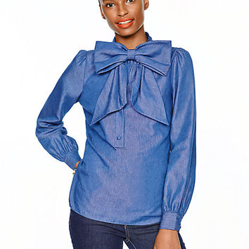 Kate Spade Chambray Bow Blouse Darkest Blue