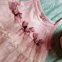 Beautiful Pink Lace Shabby Chic Baby Girl Dress 2016 Spring Summer Boutique sizes Infant 6mo 12mo 18mo 24mo Velvety Soft