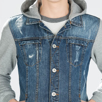 Denim jacket with fleece sleeves