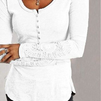 Women's Blouse/Crochet Lace Sleeve/Casual Solid Tops/O-Neck Shirt Plus Size