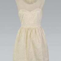 Beige Dress with Sweetheart Neck & Pearl Embellishment