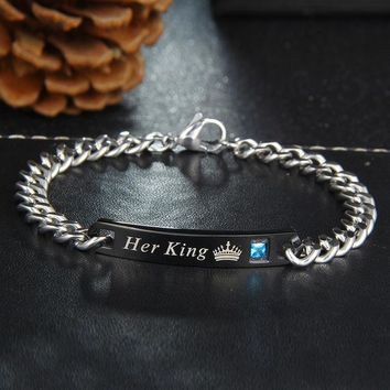 Stainless Steel Her Queen King His Beauty Beast Chain Bracelet for Lovers Promise Jewelry
