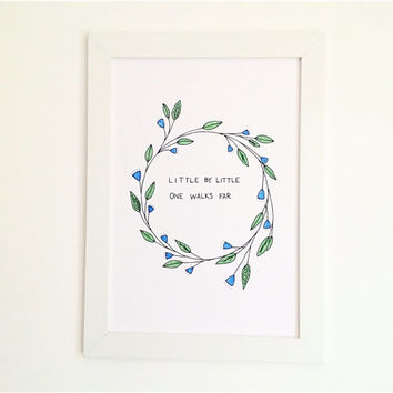 Nursery Wall Art with Inspirational Quote, Botanical Illustration Kids Art