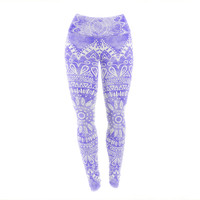 "Nika Martinez ""Boho Flower Mandala in Purple"" Lavender Yoga Leggings"
