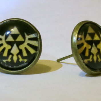 Hylian Crest Earrings - Black - Legend of Zelda earrings with crest under glass