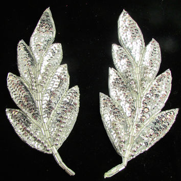 "Leaf Pair with Silver Sequins and Beads 6"" x 2.5"""