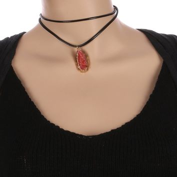 Coral Red Natural Stone Charm Faux Rubber Choker Necklace