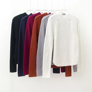Winter Vintage Long Sleeve Pullover Sweater Knit Bottoming Shirt [8511458183]